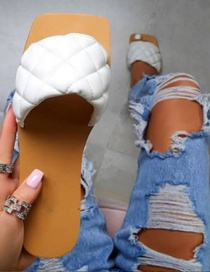 Fashion White Diamond-shaped Flat Sandals And Slippers