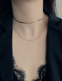 Fashion Golden Stainless Steel Snake Bone Chain Round Bean Double Necklace