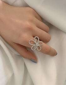 Fashion Necklace Full Diamond Five Petal Flower Necklace Ring Earrings