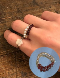 Fashion Crystal Ring Pearl Millet Beads Hand-woven Flower Crystal Ring