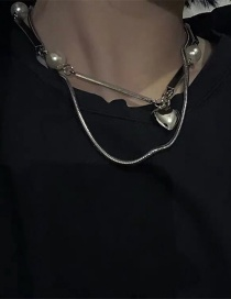 Fashion Silver Steel Tube Love Pearl Lock Double Necklace