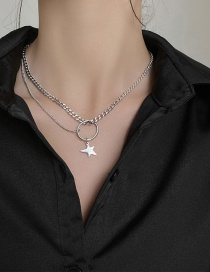 Fashion Silver Round Five-pointed Star Stainless Steel Necklace