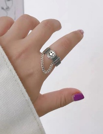 Fashion Silver Wide Smiley Chain Open Ring