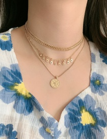 Fashion Golden Cross Bronze Gold Coin Alloy Round Multilayer Necklace