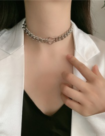 Fashion Silver Thick Chain Crown Stitching Hollow Alloy Necklace