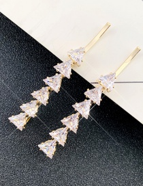 Fashion Big Triangle Golden One Triangle Zircon Crystal Hairpin