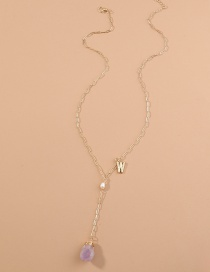 Fashion Purple Letter Resin Geometric Pearl Alloy Necklace
