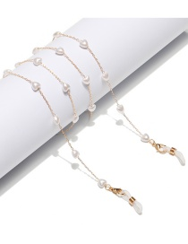 Fashion Golden Love Pearl Alloy Chain Eye Chain