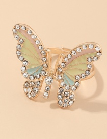 Fashion Golden Diamond And Butterfly Dropping Oil Color Ring