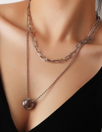 Fashion Silver Round Cross Round Bead Alloy Multi-layer Necklace