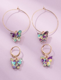 Fashion Color Mixing Transparent Sequin Resin Alloy Butterfly Earring Set