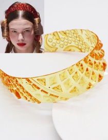 Fashion Yellow Transparent Crystal Disc Resin Pineapple Pattern Wide-brimmed Hair Band