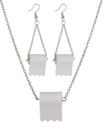 Fashion White Roll Paper Resin Alloy Earring Necklace Set
