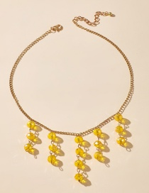 Fashion Yellow Crystal Beaded Tassel Alloy Necklace