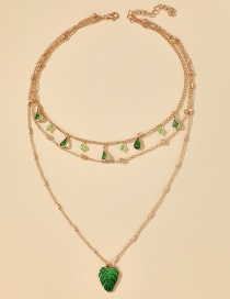 Fashion Green Alloy Necklace With Water Drops And Diamond Leaves