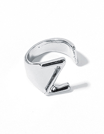 Fashion White Kz Alloy Letter Wide Edge Cutout Ring