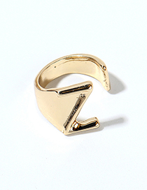 Fashion Kc Gold-z Alloy Letter Wide Edge Cutout Ring