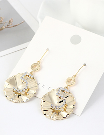 Fashion 14k Gold Real Gold Plated Lotus Leaf Digital Diamond Earrings