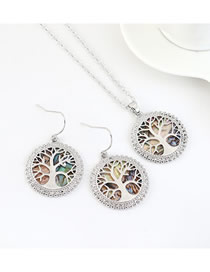 Fashion Platinum Real Gold Plated Lucky Tree Hollow Geometric Round Earring Necklace Set
