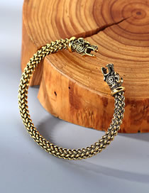 Fashion Kc Gold Dragon Head Relief Woven Open Bracelet