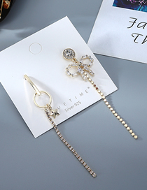 Fashion Golden Asymmetrical Earrings With Five-pointed Stars And Diamonds