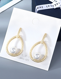 Fashion Golden Gold-plated Waterdrop Hollow Pearl Earrings