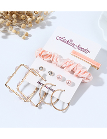 Fashion Pink Square Pearl Winding Hollow Earrings Hairpin Hair Rope Set