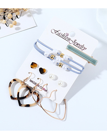 Fashion Color Mixing Resin Leopard Love Pearl Earrings Hair Clip Hair Rope Set