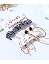 Fashion Color Mixing Resin Pearl Geometric Earrings Hair Clip Hair Rope Set