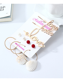 Fashion Color Mixing Shell Pearl Letter Earring Hair Clip Set