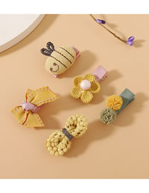 Fashion Khaki Bee Flower Knitted Bow Hairpin Set
