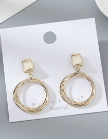Fashion White Real Gold-plated Oil Drop Geometric Round Cutout Earrings