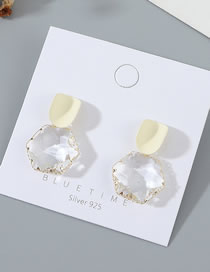 Fashion White Real Gold Plated Frosted Crystal Glass Geometric Earrings