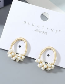 Fashion Pearl True Gold Plated Pearl S925 Silver Pin Stud Earrings