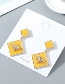 Fashion Yellow True Gold Plated Small Bee S925 Silver Pin Earrings
