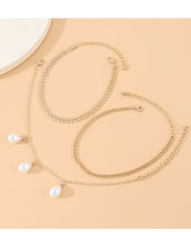 Fashion Golden Pearl Multi-layer Anklet