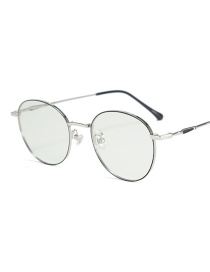 Fashion Black Silver Frame-after Changing Color Round Anti-radiation Color-changing Anti-blue Light Flat Mirror Glasses Frame
