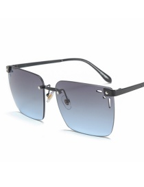 Fashion Black Frame Gray And Blue Square Cut-out Hollow Sunglasses
