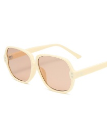 Fashion Beige Oval Rice Nail Resin Sunglasses