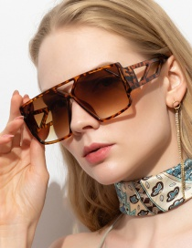 Fashion Leopard Print Large Square Hollow Resin Sunglasses