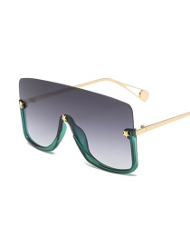 Fashion Green Frame Gradient Gray One Piece Big Frame Five-pointed Star Alloy Sunglasses