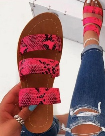Fashion Rose Red Snake Pattern Flat Sandals