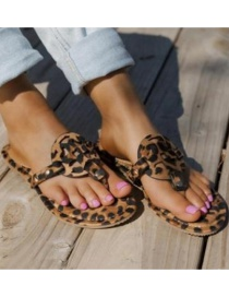 Fashion Leopard Print Leopard Carved Sandals