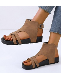 Fashion Brown Thick-bottom Belt Buckle Wisp Roman Sandals