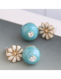 Fashion Blue Dropped Flower Ball Beads And Diamond Stud Earrings