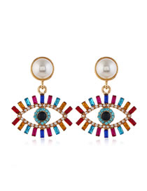 Fashion Color Mixing Pearl Earrings In Metal With Diamonds