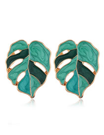 Fashion Green Contrast Drop Oil Alloy Maple Leaf Earrings