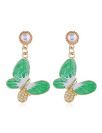 Fashion Green Contrast Color Hollow Butterfly Pearl Alloy Earrings