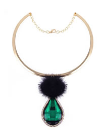 Fashion Emerald Metal Hair Ball Drop Gem Alloy Necklace