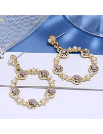 Fashion Purple Crystal Pearl Alloy Round Hollow Earrings